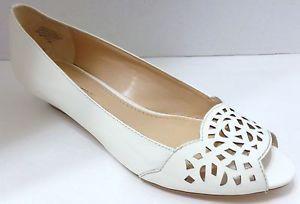 Circa Joan & David EVALUNA Women's Shoe Size 8 Ivory Peep Toe Wedge New Box
