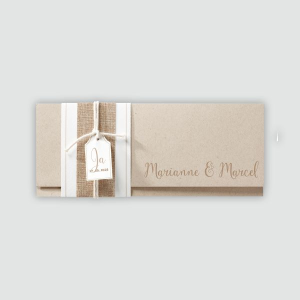 Hippe Hochzeitseinladung Aus Packpapier Mit Jute Banderole