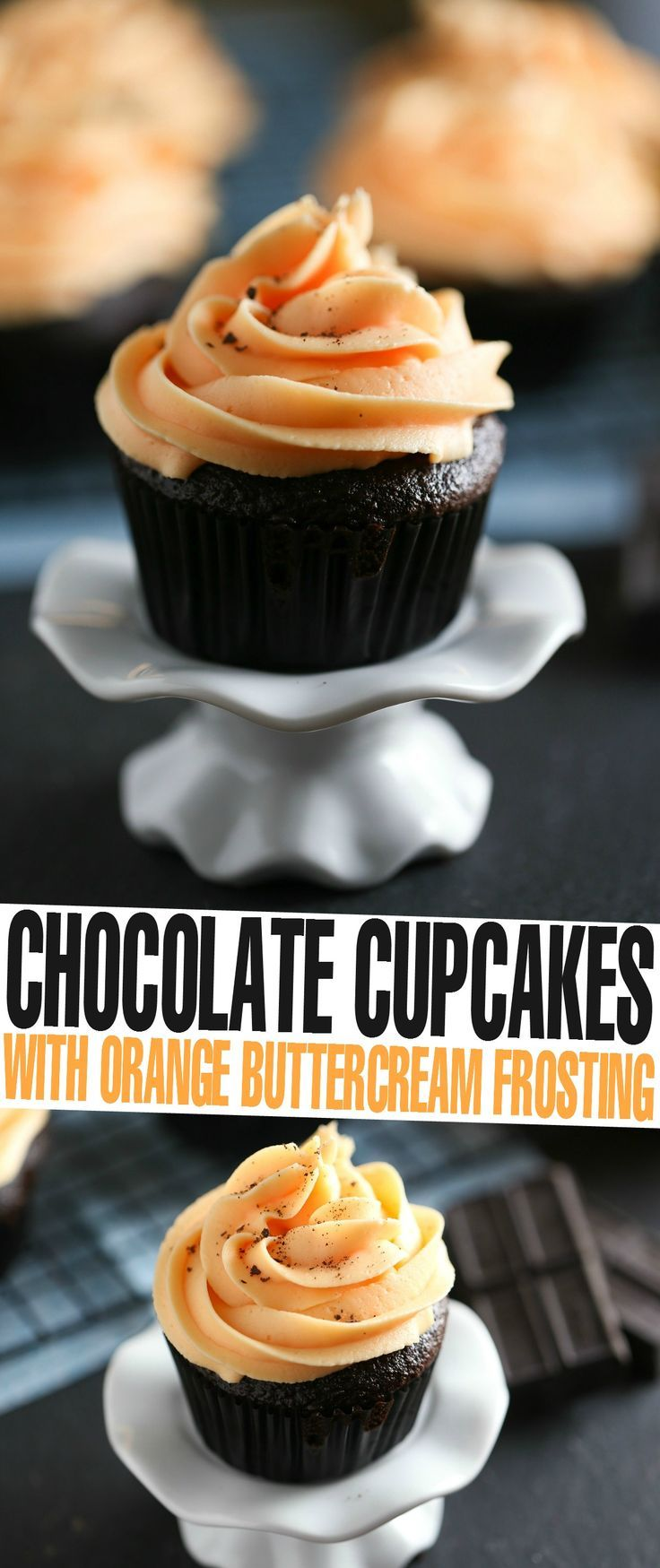Moist and flavourful Chocolate Cupcakes topped with bright Orange Buttercream Frosting. 8/4