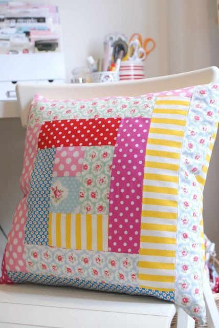 Cute patchwork cushion! Dots, stripes and florals just go so well together.