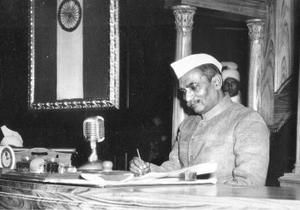 The first President of India, Rajendra Prasad, signing the calligraphic copy of the constitution. Photo: The Hindu Archives