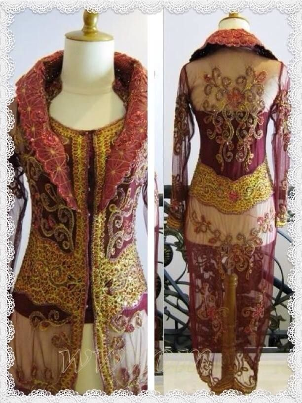 Kebaya panjang full payet/sequins come along with beautiful shiny bustier combined with soft wire material with a touch of art deco motifs, making it more classic and elegant in vibrant colours with Fine tailored skirt made from hand print batik fabric.