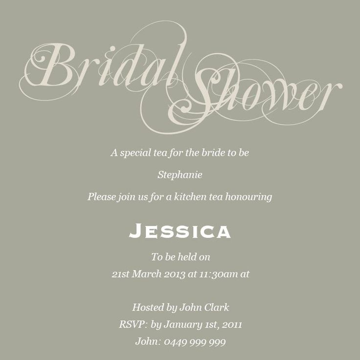 wedding party invitation message%0A Mixing typography into the ensemble via the words  u    Bridal Shower u     and the invitation  wording in normal