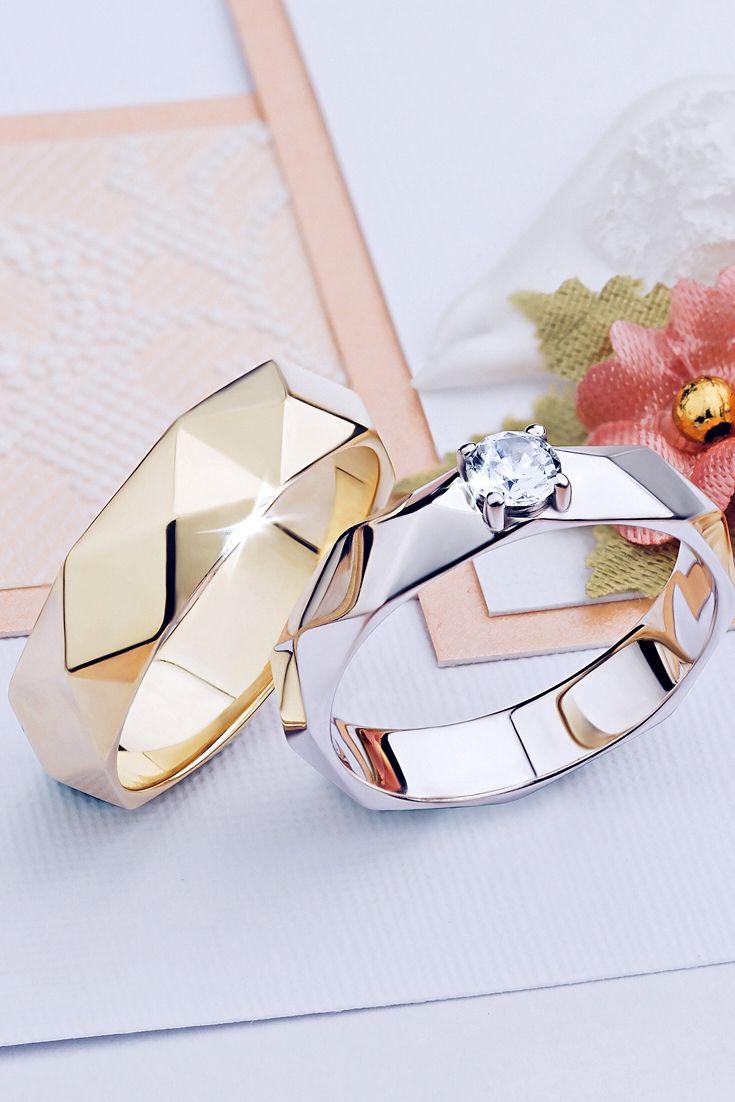 Оригинальный комплект Faset, состоящий из помолвочного и обручального кольца.   weddingrings  обручальныекольца   f658425085b