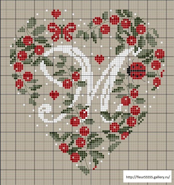Corazón en flor con alfabeto