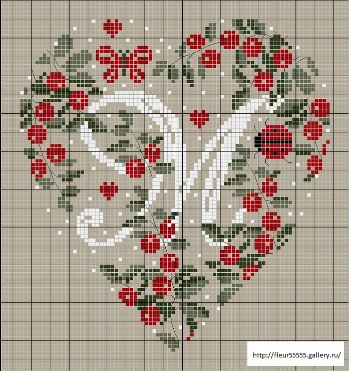 ... Cross stitch heart monogram pattern