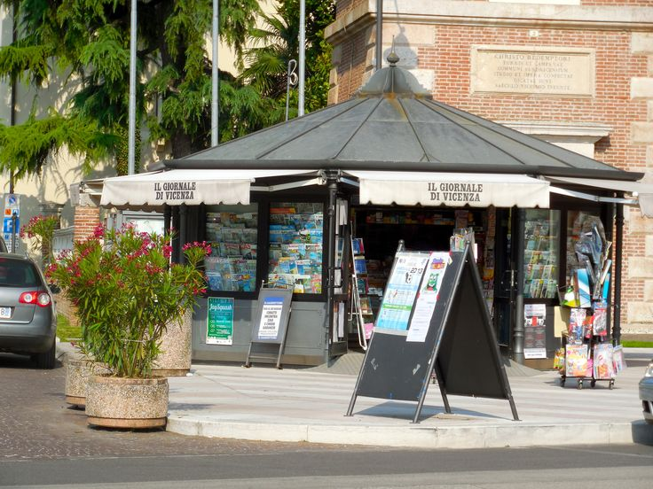 Newsstand in Vicenza, Italy, outside of Venice. Jully 2013