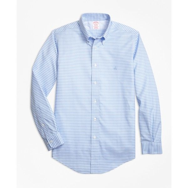 Brooks Brothers Non-Iron Madison Fit Gingham Sport Shirt (305 BRL) ❤ liked on Polyvore featuring men's fashion, men's clothing, men's shirts, men's casual shirts, light blue, mens long sleeve shirts, mens gingham shirt, men's non iron shirts, mens button down collar shirts and mens sport shirts