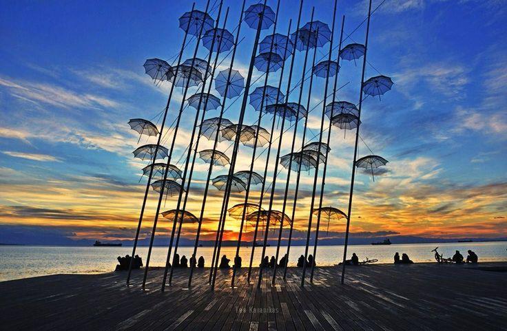https://flic.kr/p/q6T4g9   Umbrellas   Sunset at Zongolopoulos Umbrellas art installation, in Thessaloniki seafront, Greece.