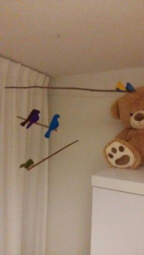 Baby mobile vilten vogels DIY