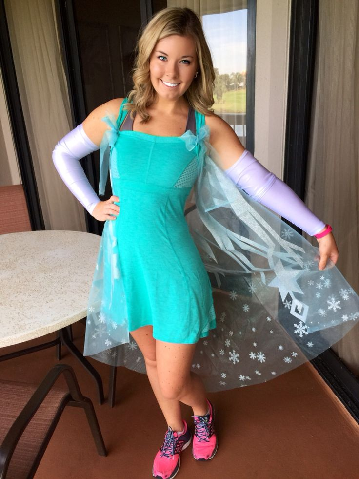 Elsa Disney Marathon Running Costume. Running dress, cape and arm warmer. It worked out amazing for the 2015 race! Disney Marathon
