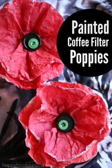 Painted Coffee Filter Poppies. This poppy craft is quick, easy and pretty. Simple enough for toddlers and preschoolers to make!