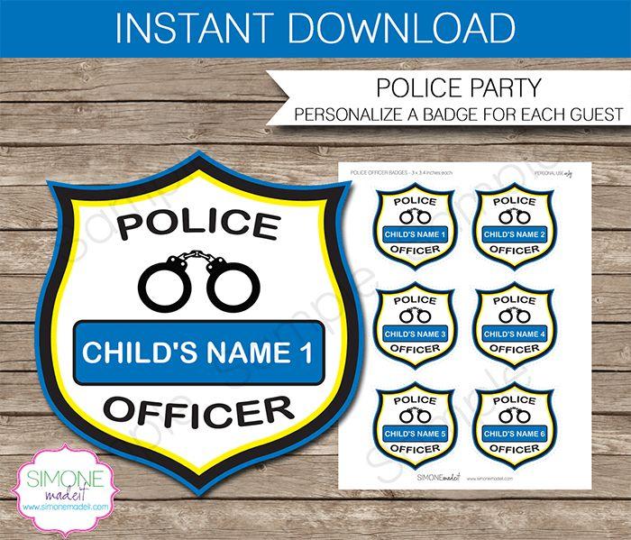 Police Officer Badges Police Birthday Parties Birthdays