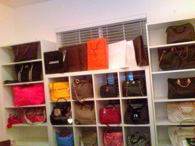 Purses in ikea expedit shelf purse storage ideas Ideas for hanging backpacks