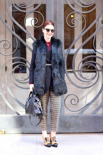 """""""I have a thing for vintage printed pants (these were a real find!), and I think in the winter when you'recovered upso much, a little glimpse of them is a nice surprise.""""Prints Pants, Printed Pants, Vintage Prints, Christening Barberich, Editor In Chiefs, Faux Fur Vests, Chic Prints, Prints Trousers, Furries Vest"""