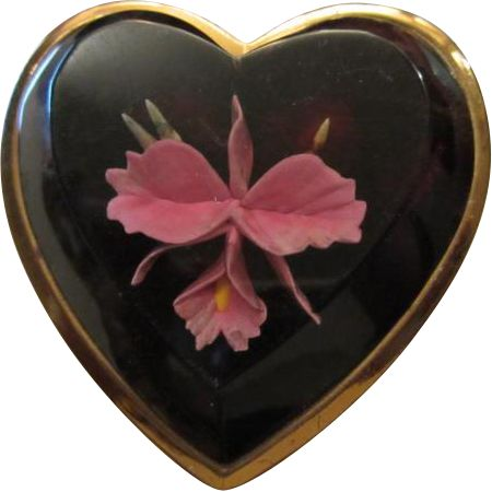 Orchid Flower Beveled Lucite Heart Compact Original Powder Puff Mirror Art Deco Vanity ~  This one is Simply Devine!  What looks like a natural Orchid