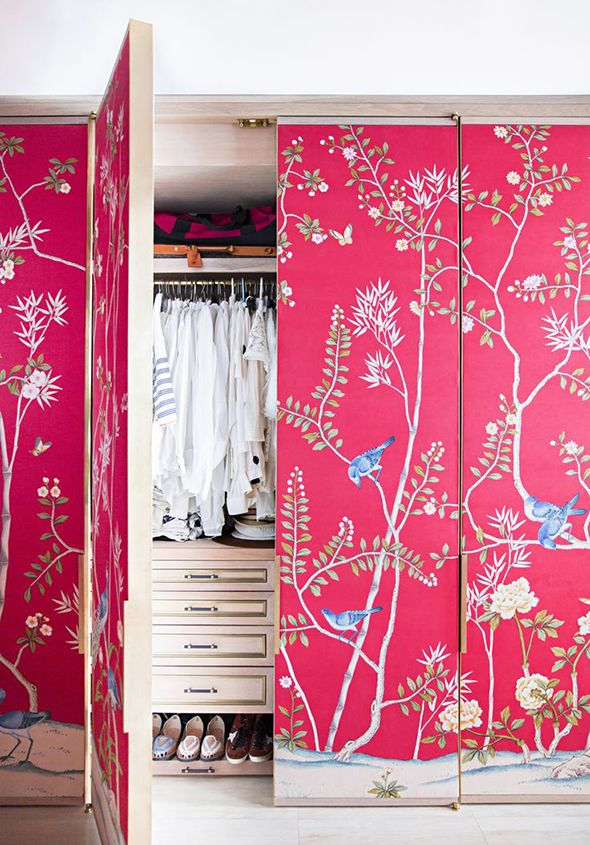 ignore the colour but like the idea of papering the closet doors, with something a little subtler!