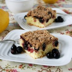 A delicious, easy to make cake for when company is coming by. Saskatoon berries can easily be replaced with blueberries if you don't have access to them.