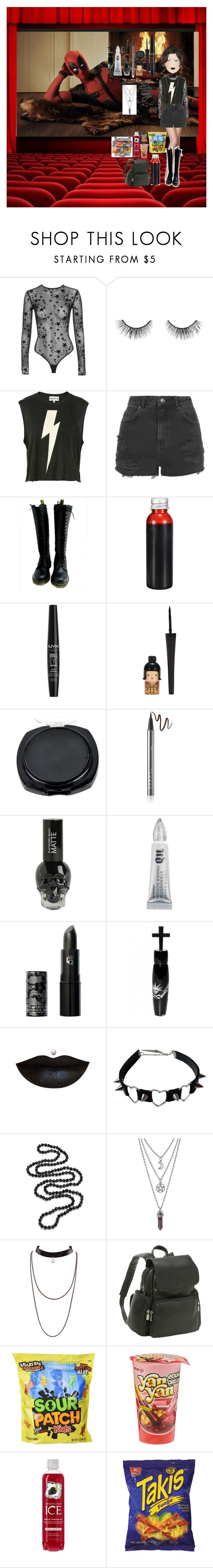 """""""I'm watching deadpool"""" by ashleypurdy98 ❤ liked on Polyvore featuring Marvel, tarte, Wildfox, Topshop, Dr. Martens, NYX, LORAC, Hot Topic, Urban Decay and Lipstick Queen"""