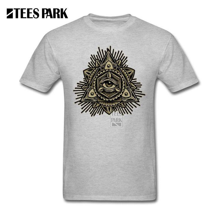 Custom Printed T Shirts Sacred Trinity Eye Men's O Neck Short Sleeve T Shirt Designing Man Customised T Shirts #Affiliate