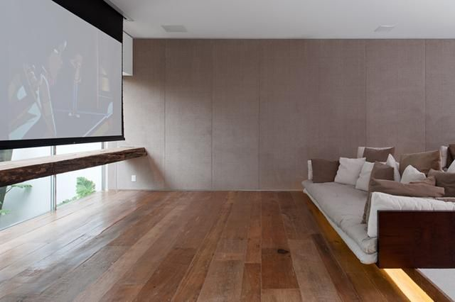 A screening room in a project by Isay Weinfeld in Brazil, spotted on Dezeen.