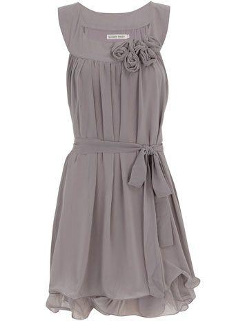 gray rosette front dress