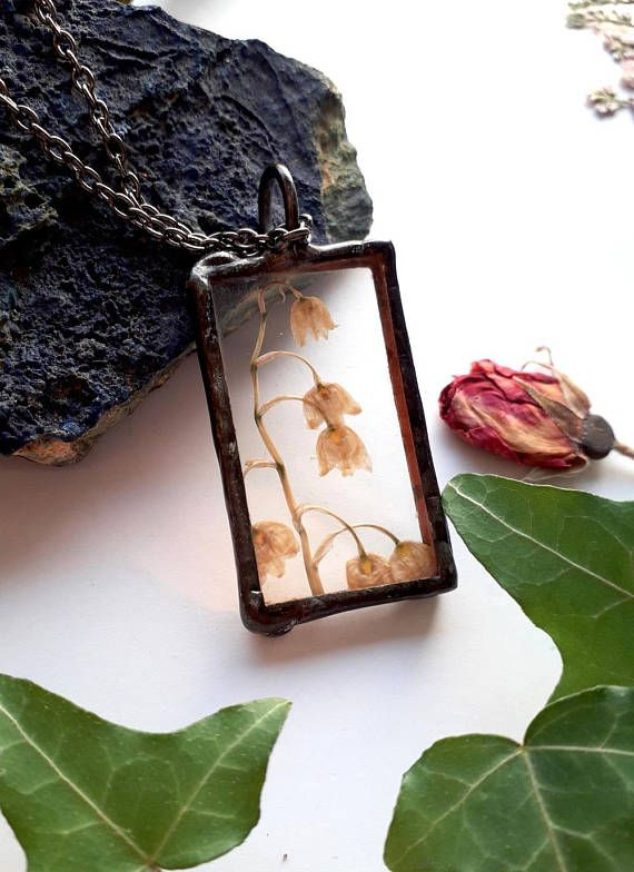 Lily of the valley necklace. Pressed lily of the valley.