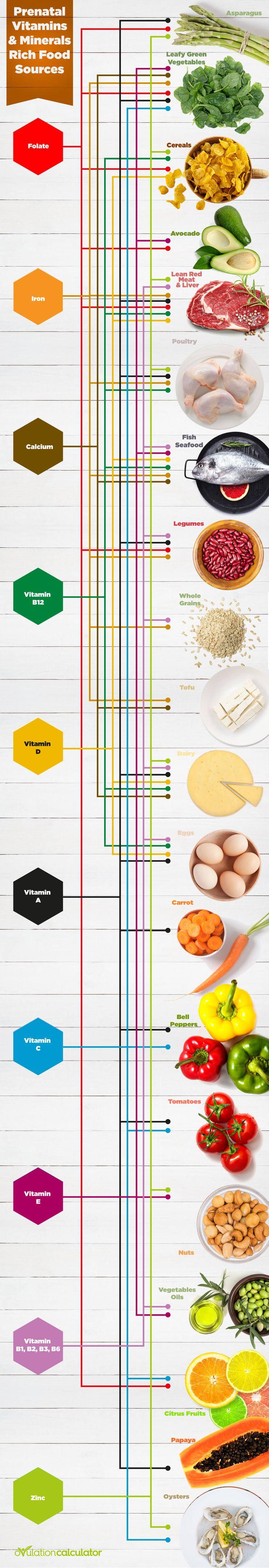#Prenatal #Vitamins & Minerals Rich Food Sources #Infographic