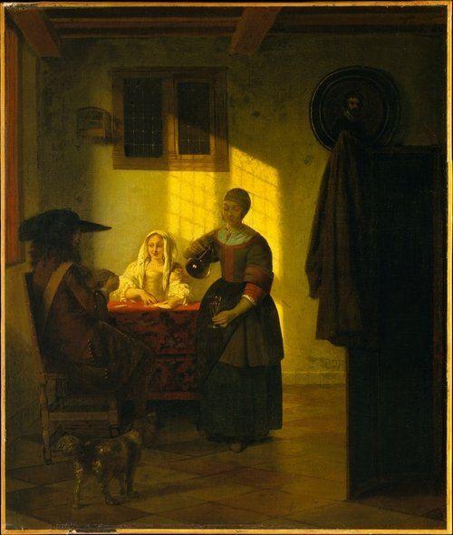 """""""A Couple Playing Cards, with a Serving Woman""""  Pieter de Hooch Pieter Hendricksz. Peintre néerlandais (Provinces-unies) du siècle d'or, représentant du baroque, il fait partie de ce que l'on appelle les « vieux maîtres hollandais » et est considéré comme l'un des principaux maîtres de la scène de genre."""