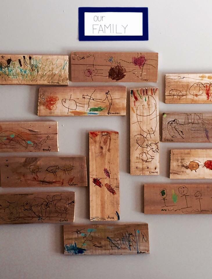 Luisa Simmons repurposed a wood pallet by cutting it into smaller pieces to be used as a medium for drawing. Family portraits were drawn by our 3 year-old students. Family-blocks will be used by the children in the block center. @Kinderoo Children's Academy ≈≈
