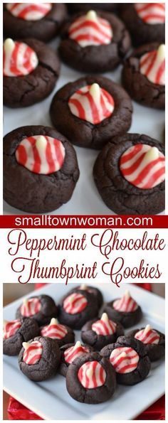 These delectable cuties are a rich peppermint chocolate cookie topped with an adorable peppermint kiss candy.