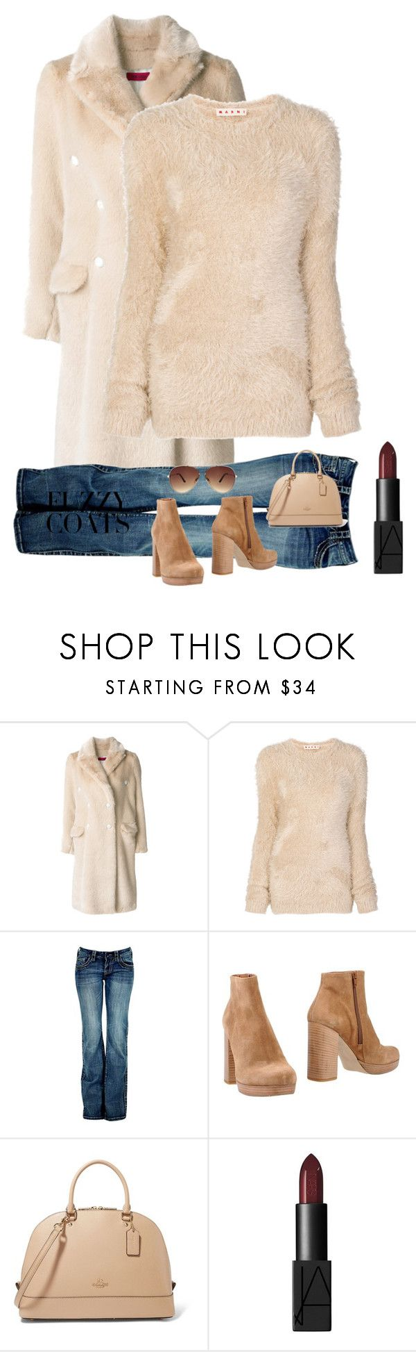 """""""Fuzzy Coats"""" by kotnourka ❤ liked on Polyvore featuring The Gigi, Marni, Barbed, UnLace and Ashley Stewart"""