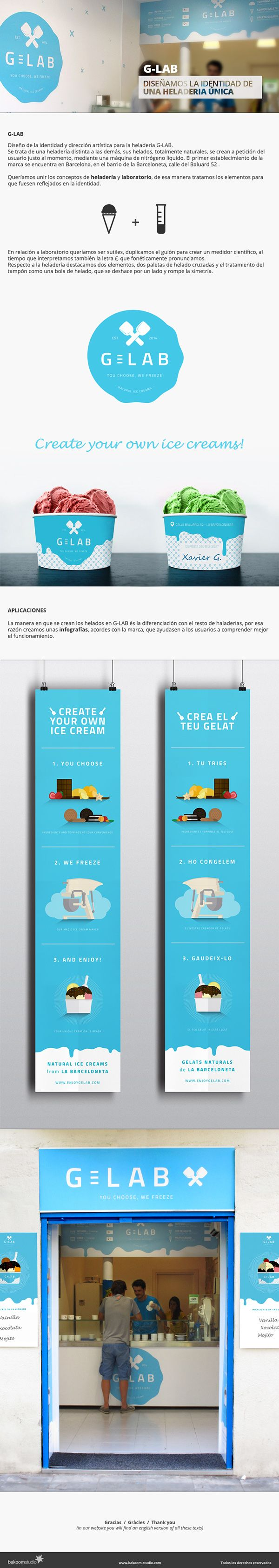 Identity design and art direction for G-LAB, ice cream shop. #icecreams #design #logo
