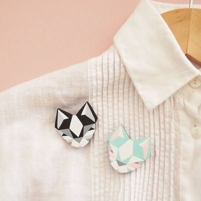 Geometric #cat brooches by Sketchinc