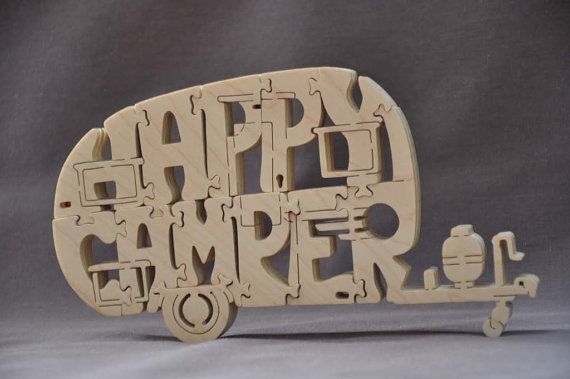 Happy Camper Canned Ham Trailer Camping Puzzle Wooden Toy