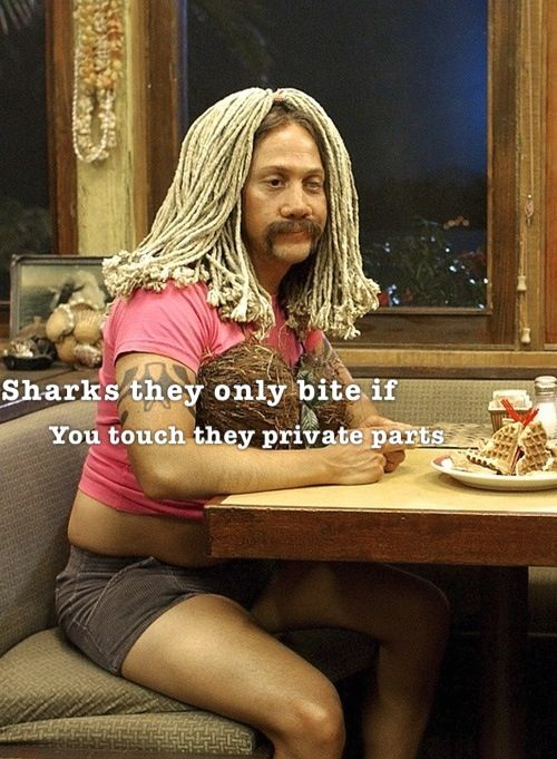 "50 first dates// ""Sharks, they only bite if you touch their private parts."" HAHAHAHAHAHAHAHAHAHHAHA!!!!!"