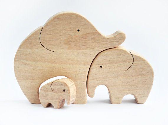 Elefanten Handgehauene Familie Holz Puzzle - Elefanten Toy - hölzernes Spielzeug - Elefant-Dekor - Holz Puzzle - Elefant Figur