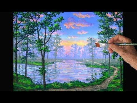 ▶ How To Paint A Trail By A Lake At Sunset Using Acrylics In Bottles Complete Narrated Video - YouTube