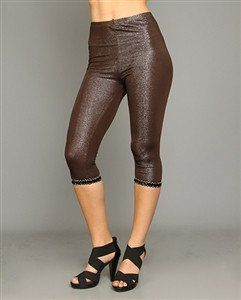 Hot BROWN AND SILVER METALLIC LEGGINGS WITH LACE AND EMBELLISHED SIDES – 1Deebrand  #fashion #beauty #leggings #pants #jeans #pajamas #ladies #womensfashion #1deebrand