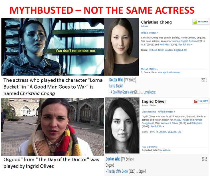 "Some people are saying this is the same actress, and therefore the same character. This is not true. The actress who played the character ""Lorna Bucket"" in ""A Good Man Goes to War"" is named Christina Chong. ""Osgood"" from ""The Day of the Doctor"" was played by Ingrid Oliver. <--- Well, poo..."