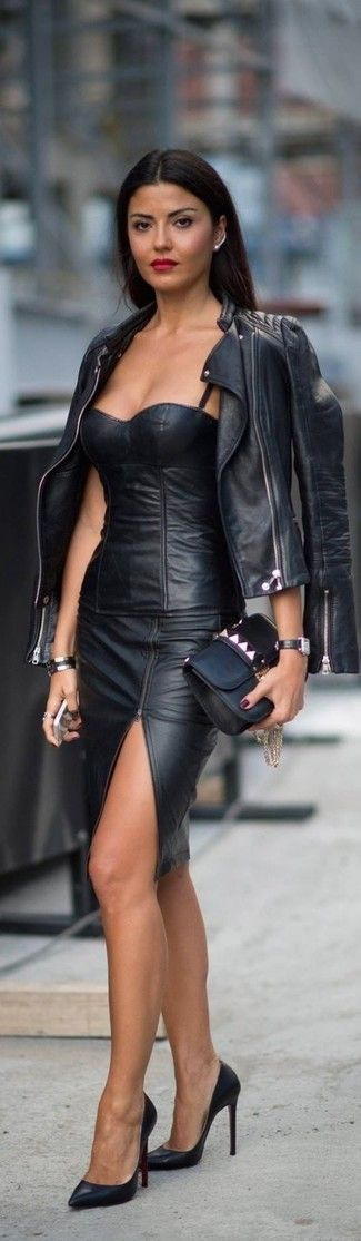 Women's Black Quilted Leather Biker Jacket, Black Leather Sleeveless Top, Black Slit Leather Pencil Skirt, Black Leather Pumps