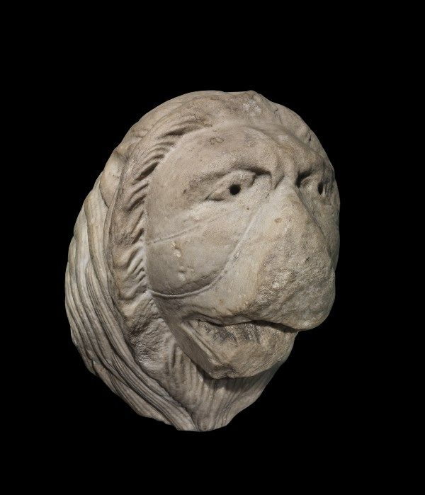 LUCCA First third of XIII century  Head of a Lion Marble H. cm. 31