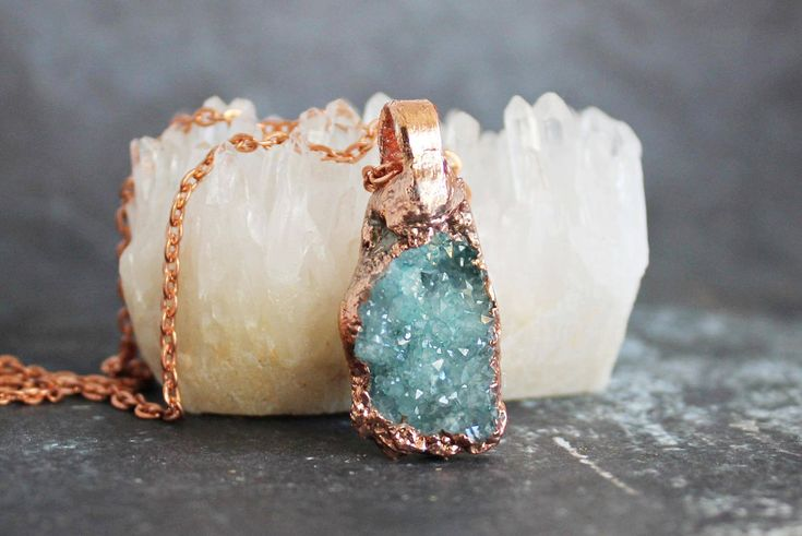 Blue Druzy Necklace, Raw Crystal Necklace, Copper Anniversary Gifts for Women, Something Blue Boho Bridal Jewelry, Boho Chic Graduation Gift
