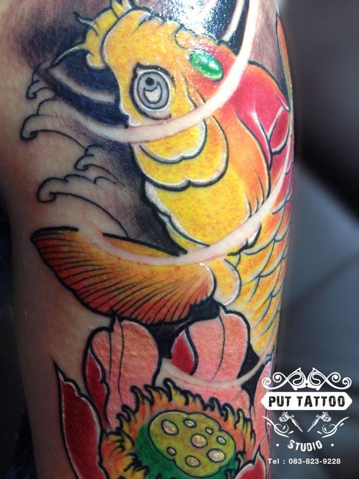 Japantattoo  Artist By: Put Tattoo Studio Shop #thailandtattoo #tattoothailand #japantattoo #japanstattoo #colortattoo #lotustattoo #fishtattoo