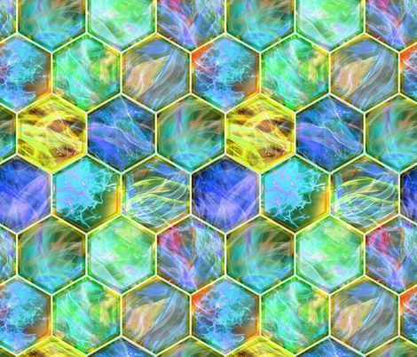 MAGIC CONTAINED LIGHTNING HEXAGONS blue yellow lime fabric by paysmage on Spoonflower - custom fabric