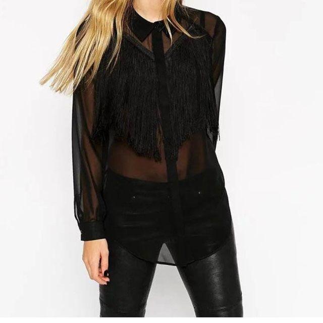 Дамы черный цвет сексуальные прозрачные передняя кисточкой деко шифон блузка дамы с длинным рукавом блузки feminina blusas топы