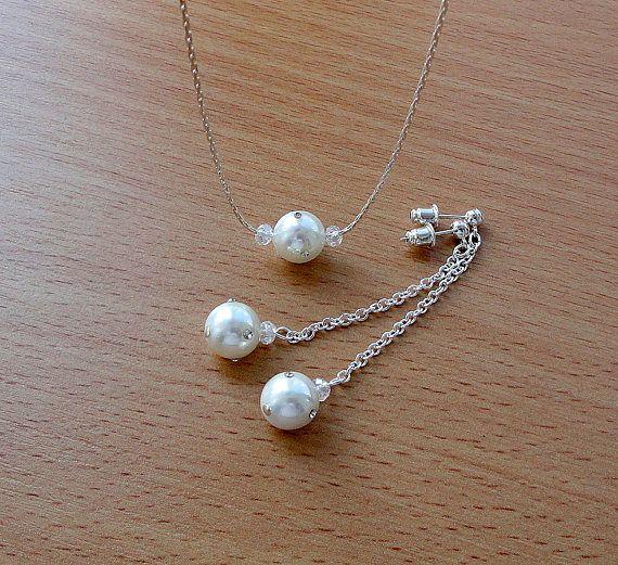 Pearl jewelry set bridal wedding set pearl crystal brides