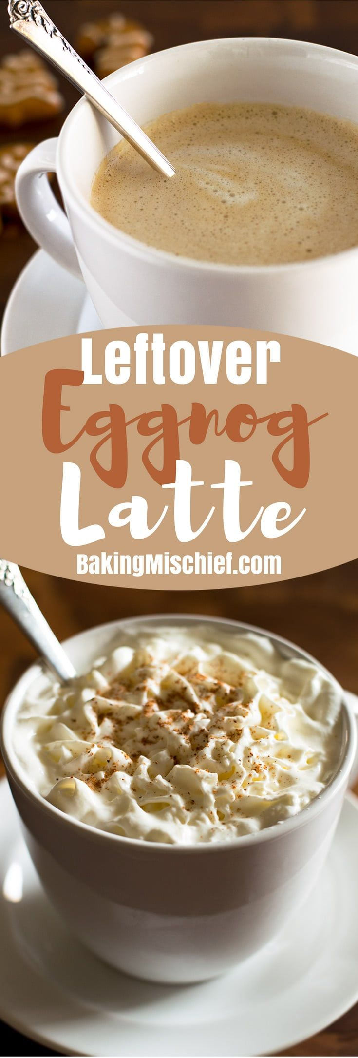 An Eggnog Latte is the perfect Starbucks copycat for using up leftover eggnog! From BakingMischief.com