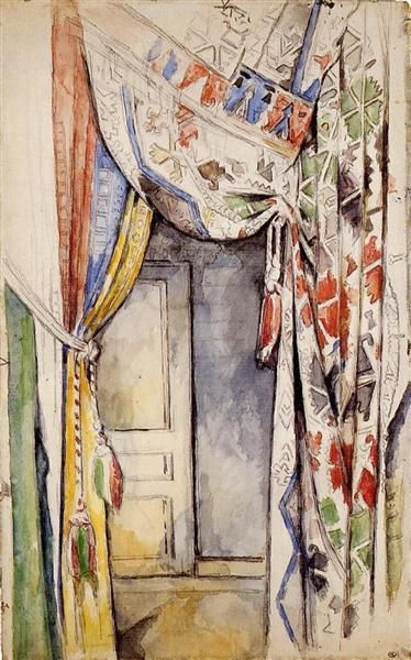 Curtains, 1885 by Paul Cezanne, Mature period. Post-Impressionism. interior. Musée d'Orsay, Paris, France