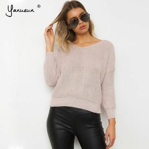 dee7803b39 Yanueun 2018 Sweater High Quality V Neck Solid Sweaters and Pullovers  Fashion Lace up Knitted Women s Tops Autumn Winter Hot